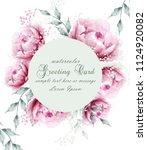 watercolor peony flowers weath... | Shutterstock .eps vector #1124920082
