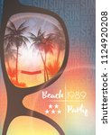 summer beach party flyer design ... | Shutterstock .eps vector #1124920208