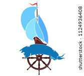Ship With Sails On Wave Vector