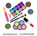 set of many cosmetics products  ...   Shutterstock . vector #1124941658