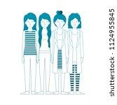 group of women friends...   Shutterstock .eps vector #1124955845