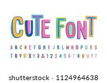 Stock vector uppercase cute alphabet font letters numbers and symbols vector hand drawn typography for 1124964638