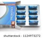 probiotics. blister box with... | Shutterstock . vector #1124973272