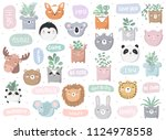 vector set of cute doodle... | Shutterstock .eps vector #1124978558