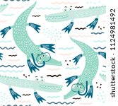seamless pattern with crocodile ... | Shutterstock .eps vector #1124981492