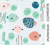 seamless childish pattern with... | Shutterstock .eps vector #1124981978