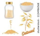 oatmeal set. vector realistic... | Shutterstock .eps vector #1124986568