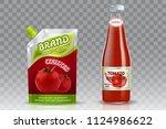 tomato ketchup packaging mockup ... | Shutterstock .eps vector #1124986622