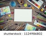 set of painter accessories.... | Shutterstock . vector #1124986802