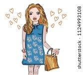 hand drawn beautiful cute blond ... | Shutterstock .eps vector #1124993108