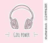pink headphones. text  girl... | Shutterstock .eps vector #1124996285