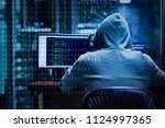 Small photo of A hacker or cracker tries to hack a security system to steal or destroy critical information. Or a ransom of important information of the company.