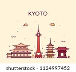 kyoto skyline  japan. trendy... | Shutterstock .eps vector #1124997452