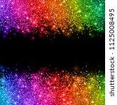 multicolored glitter on black... | Shutterstock . vector #1125008495
