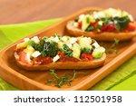 baked vegetarian open sandwich  ...   Shutterstock . vector #112501958