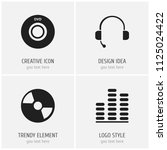 set of 4 editable mp3 icons.... | Shutterstock .eps vector #1125024422