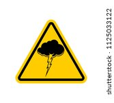 attention thunderstorm. yellow... | Shutterstock .eps vector #1125033122