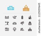 travel icons set  florida ... | Shutterstock . vector #1125059645