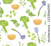 seamless pattern with broccoli  ... | Shutterstock .eps vector #1125066392