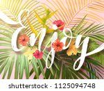summer tropical design with... | Shutterstock . vector #1125094748