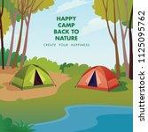 camp outdoor two tents beside... | Shutterstock .eps vector #1125095762