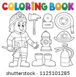 coloring book firefighter theme ...   Shutterstock .eps vector #1125101285