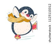 winter illustration with funny... | Shutterstock .eps vector #1125110312