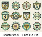 retro nautical emblem set with... | Shutterstock .eps vector #1125115745