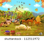 farm animals in the autumn field | Shutterstock .eps vector #112511972