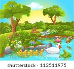 ducks on the pond | Shutterstock .eps vector #112511975