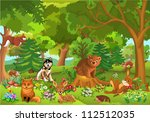 cute animals in the forest | Shutterstock .eps vector #112512035