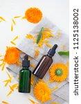 marigold or calendula essential ... | Shutterstock . vector #1125138002