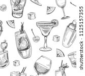 alcoholic cocktails pattern.... | Shutterstock .eps vector #1125157355