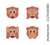 monkey face  see no evil monkey ... | Shutterstock .eps vector #1125160382
