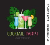 summer tropical cocktail with... | Shutterstock .eps vector #1125160928
