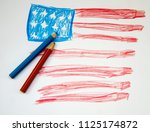 star striped us flag drawn in... | Shutterstock . vector #1125174872