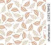 outline ash and oak leaves on... | Shutterstock .eps vector #1125178952