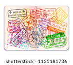 realistic open foreign passport ...   Shutterstock .eps vector #1125181736
