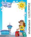 tourist woman theme frame 1  ... | Shutterstock .eps vector #1125199952