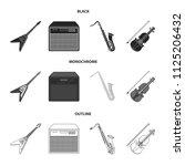 electric guitar  loudspeaker ... | Shutterstock .eps vector #1125206432