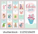 calendar 2019. cute monthly... | Shutterstock .eps vector #1125210635