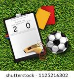 scoreboard  soccer ball and... | Shutterstock .eps vector #1125216302