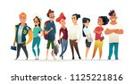 group of charismatic smiling... | Shutterstock .eps vector #1125221816