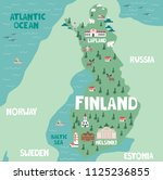 illustration map of finland... | Shutterstock .eps vector #1125236855