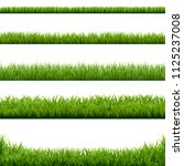 big set green grass borders... | Shutterstock .eps vector #1125237008