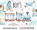 baby boys world. cartoon... | Shutterstock . vector #1125240968