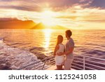 travel cruise ship couple on... | Shutterstock . vector #1125241058