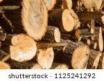 pile of firewood. firewood for... | Shutterstock . vector #1125241292