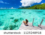 bora bora luxury travel... | Shutterstock . vector #1125248918