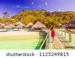 luxury resort in bora bora ... | Shutterstock . vector #1125249815